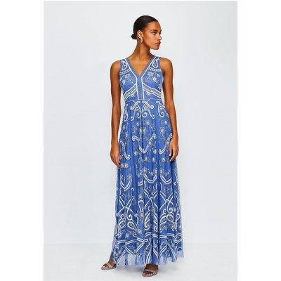 Karen Millen Embellished V Neck Maxi Dress, Blue