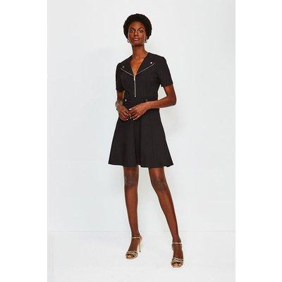 Karen Millen Zip Placket Short Sleeve A-Line Dress, Black