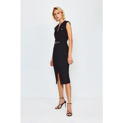Karen Millen Utility Snaffle Trim Dress, Black