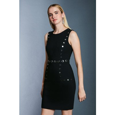 Karen Millen Eyelet Detail Shift Dress, Black