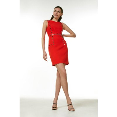 Karen Millen Eyelet Detail Shift Dress -, Red