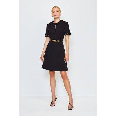 Karen Millen Belted Eyelet Detail Short Sleeve A-Line Dress, Black