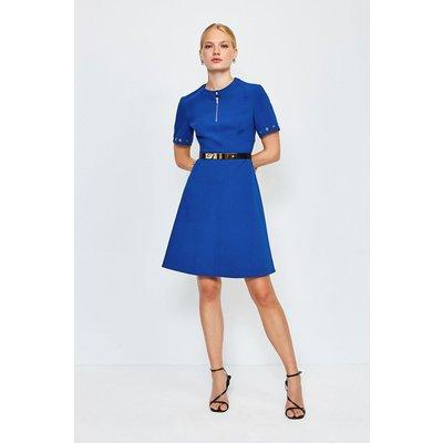 Karen Millen Belted Eyelet Detail Short Sleeve A-Line Dress, Blue