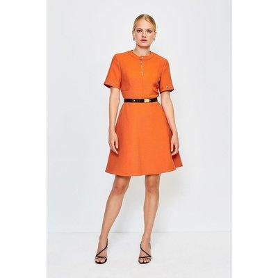 Karen Millen Belted Eyelet Detail Short Sleeve A-Line Dress, Orange
