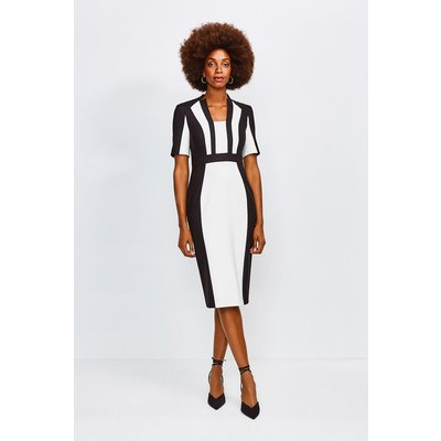 Karen Millen Colour Block Sleeved Envelope Dress -, Mono