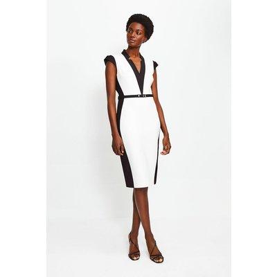 Karen Millen Cap Sleeve Colour Block Pencil Dress, Mono