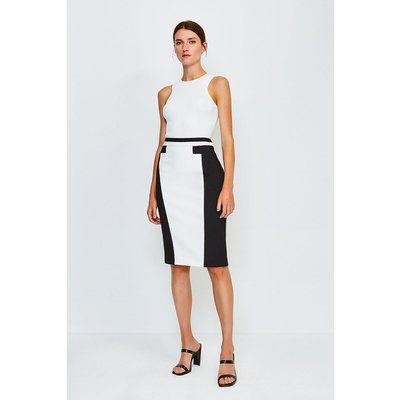 Karen Millen Panel Block Pencil Skirt -, Mono