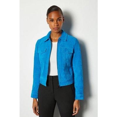 Karen Millen Colourful Suede Jacket, Blue