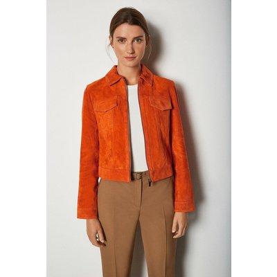 Karen Millen Colourful Suede Jacket, Orange