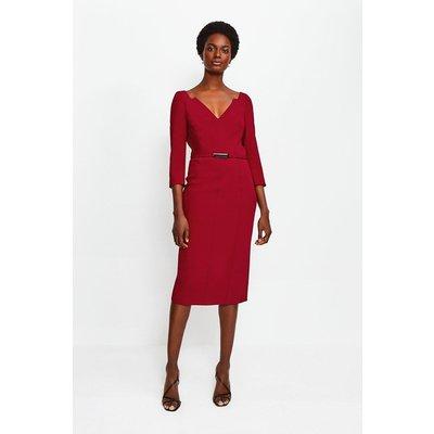 Karen Millen Forever Bar Belt Dress, Red