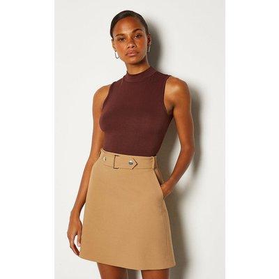 Karen Millen Cinch Waist A-Line Skirt, Camel