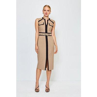 Karen Millen Utility Snaffle Trim Dress, Camel