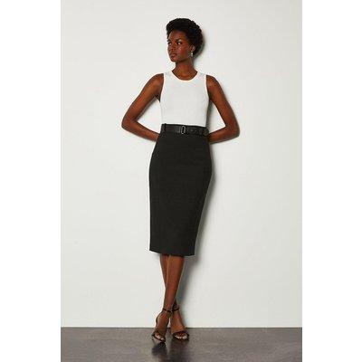 Karen Millen Forever Belted Pencil Skirt, Black