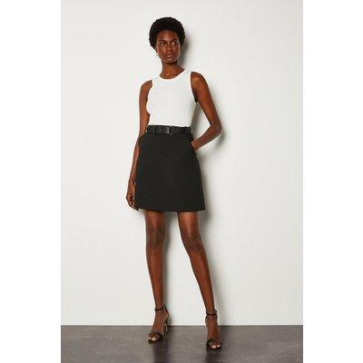 Karen Millen Forever Belted A-Line Skirt, Black