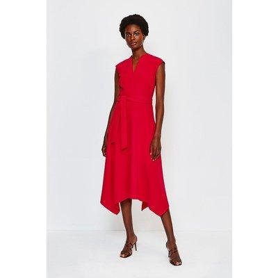 Karen Millen Notch Neck Midi Dress, Red