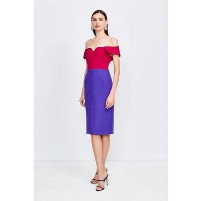 Karen Millen Colourblock Forever Bardot Dress -, Navy