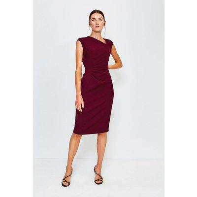 Karen Millen Asymetric Tuck Detail Dress, Red