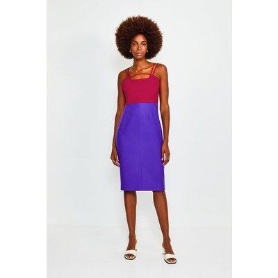 Karen Millen Colour Blocked Strap and Bar Dress -, Navy