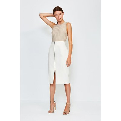 Karen Millen Zip Front Pencil Skirt -, Ivory
