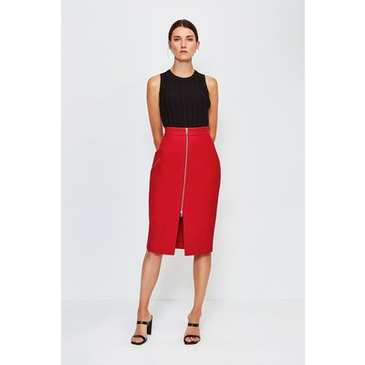 Karen Millen Zip Front Pencil Skirt -, Red