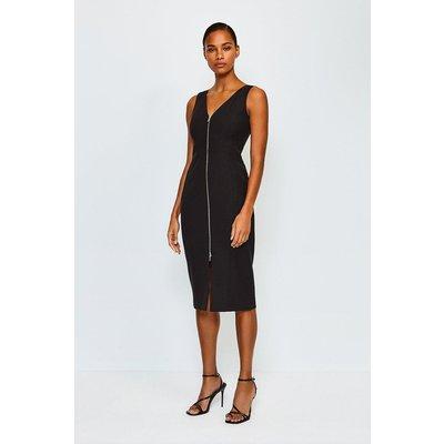 Karen Millen Zip Front Pencil Dress, Black
