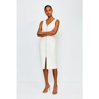 Karen Millen Zip Front Pencil Dress, Ivory