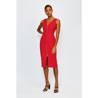 Karen Millen Zip Front Pencil Dress, Red