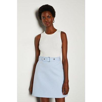 Karen Millen Cinch Waist A-Line Skirt, Pale Blue