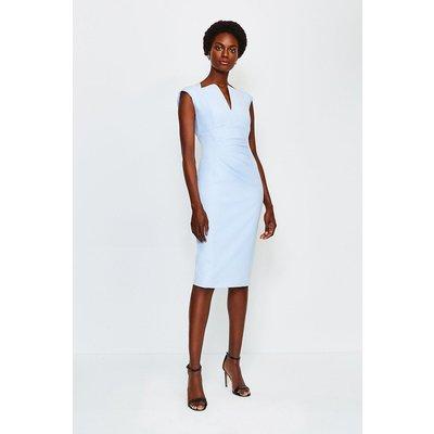 Karen Millen Envelope Neck Dress, Pale Blue