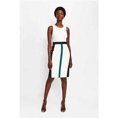 Karen Millen Colour Panelled Pencil Skirt, Blue