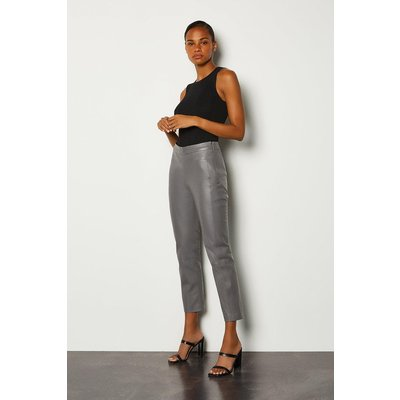 Karen Millen Leather Colour Block Trouser, Grey