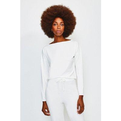 Karen Millen Lounge Viscose Batwing Long Sleeve Top, Ivory