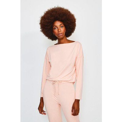 Karen Millen Lounge Viscose Batwing Long Sleeve Top, Pink