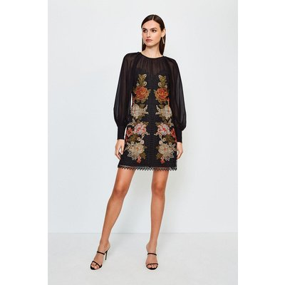 Karen Millen Cutwork Lace Volume Sleeve Dress, Black