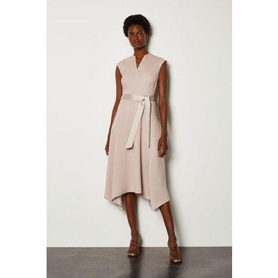 Karen Millen Notch Neck Sleeveless Crepe Midi Dress, Natural
