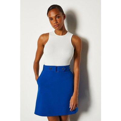 Karen Millen Cinch Waist A-Line Skirt, Blue