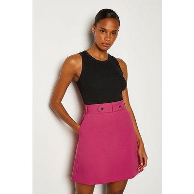 Karen Millen Cinch Waist A-Line Skirt, Navy