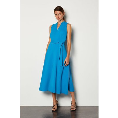 Karen Millen Notch Neck Soft Tie Midi Dress, Blue