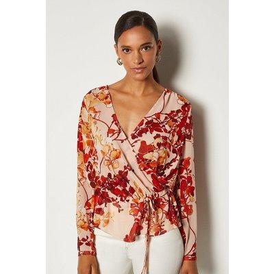 Karen Millen Floral Print Long Sleeve Blouse, Brown