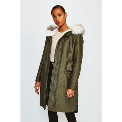 Karen Millen Faux Fur Trim Parka Coat, Khaki/Green