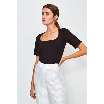 Karen Millen Ponte Square Neck Short Sleeve Top, Black