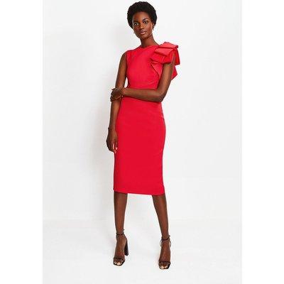 Karen Millen Italian Stretch Origami Shoulder Dress, Red