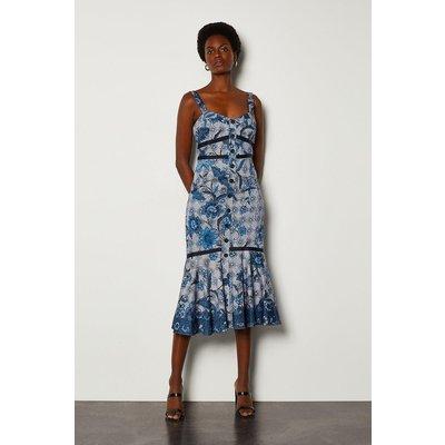 Karen Millen Indonesian Print Summer Dress, Blue