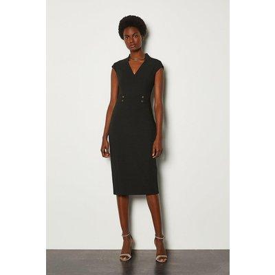 Karen Millen Forever Cap Sleeve Stud Waist Dress, Black