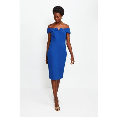 Karen Millen Forever Bardot Pencil Dress, Blue