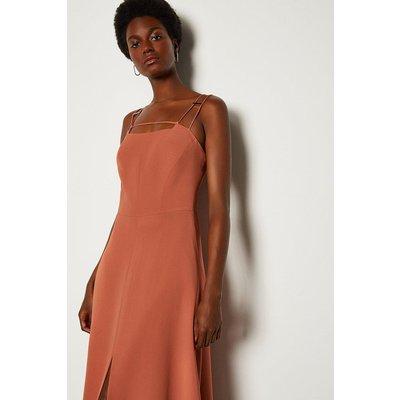 Karen Millen Strap And Bar Midi Dress, Tan