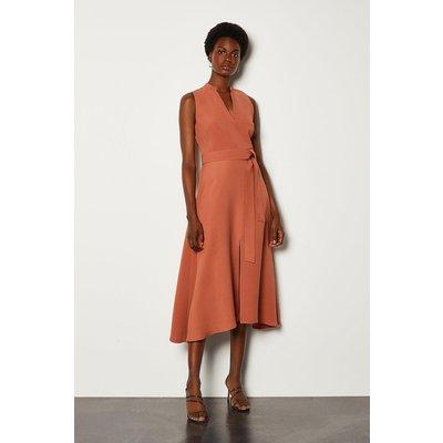 Karen Millen Notch Neck Soft Tie Midi Dress, Tan