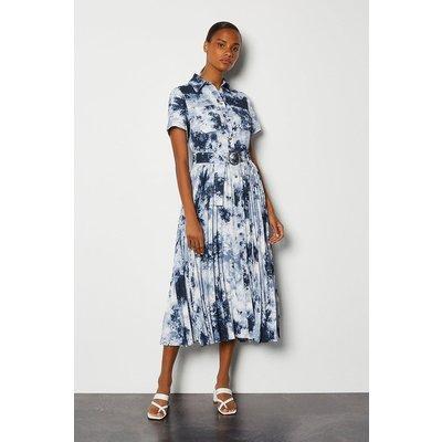 Karen Millen Tie Dye Pleated Belted Dress, Blue