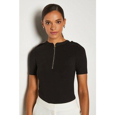 Karen Millen Short Sleeve Military Ponte Top -, Black
