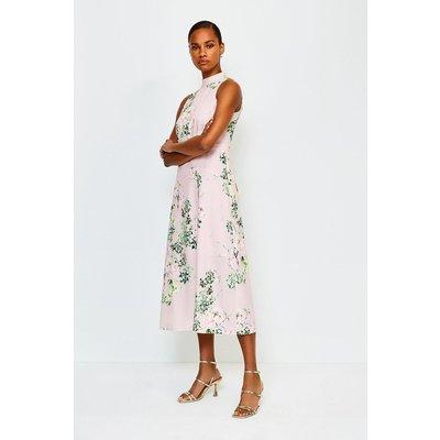 Karen Millen Floral Print Sleeveless Midi Dress, Navy